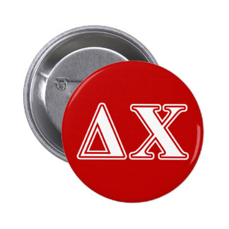 Delta Chi White and Red Letters 6 Cm Round Badge