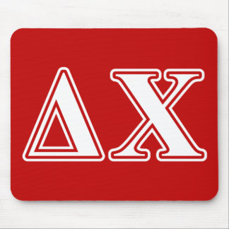 Delta Chi White and Red Letters Mouse Pad