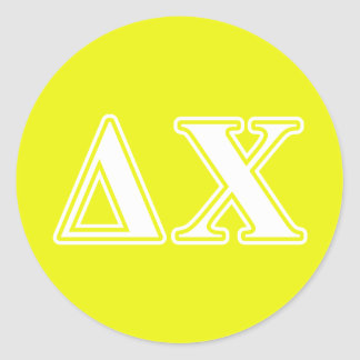 Delta Chi White and Yellow Letters Classic Round Sticker
