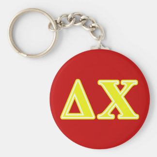 Delta Chi Yellow Letters Key Ring