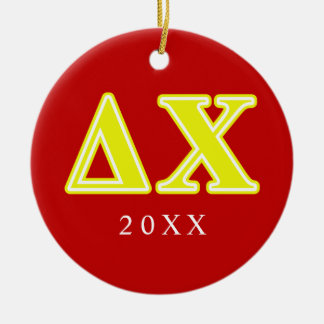Delta Chi Yellow Letters Round Ceramic Decoration