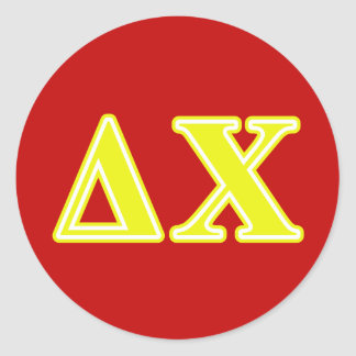 Delta Chi Yellow Letters Round Sticker