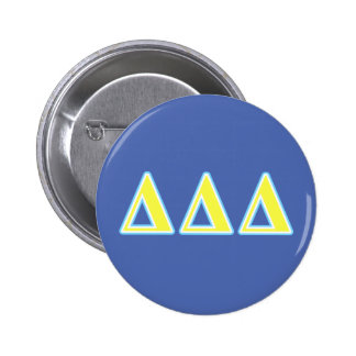 Delta Delta Delta Blue and Yellow Letters 6 Cm Round Badge