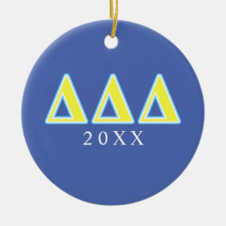 Delta Delta Delta Blue and Yellow Letters Christmas Ornament