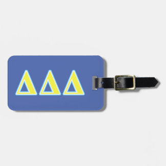 Delta Delta Delta Blue and Yellow Letters Luggage Tag