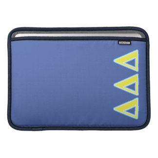 Delta Delta Delta Blue and Yellow Letters MacBook Sleeve