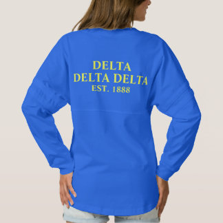 Delta Delta Delta Blue and Yellow Letters Spirit Jersey