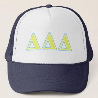 Delta Delta Delta Blue and Yellow Letters Trucker Hat
