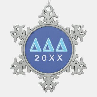 Delta Delta Delta Blue Letters Snowflake Pewter Christmas Ornament