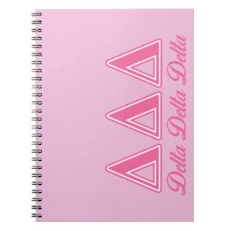 Delta Delta Delta Pink Letters Notebook
