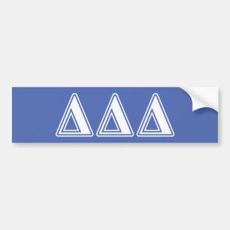 Delta Delta Delta White and Blue Letters Bumper Sticker