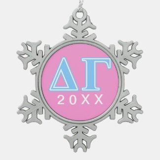 Delta Gamma Blue Letters Snowflake Pewter Christmas Ornament