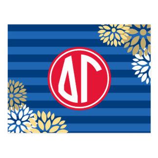 Delta Gamma | Monogram Stripe Pattern Postcard