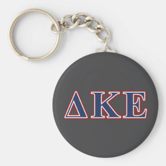 Delta Kappa Epsilon Blue and Red Letters Basic Round Button Key Ring