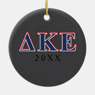 Delta Kappa Epsilon Blue and Red Letters Christmas Ornament
