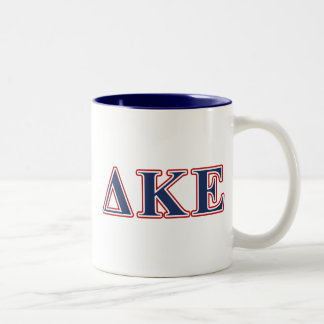 Delta Kappa Epsilon Blue and Red Letters Two-Tone Coffee Mug
