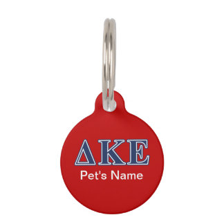 Delta Kappa Epsilon Blue Letters Pet Name Tag