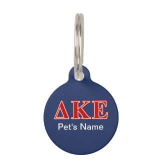 Delta Kappa Epsilon Red Letters Pet Tag