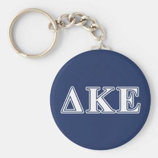 Delta Kappa Epsilon White and Blue Letters Basic Round Button Key Ring