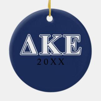 Delta Kappa Epsilon White and Blue Letters Christmas Ornament