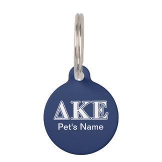 Delta Kappa Epsilon White and Blue Letters Pet Name Tag