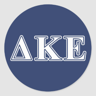 Delta Kappa Epsilon White and Blue Letters Round Sticker