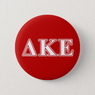 Delta Kappa Epsilon White and Red Letters 6 Cm Round Badge