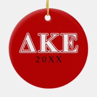 Delta Kappa Epsilon White and Red Letters Christmas Ornament