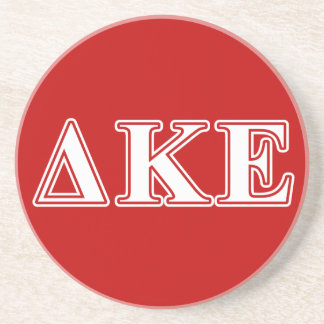 Delta Kappa Epsilon White and Red Letters Drink Coaster