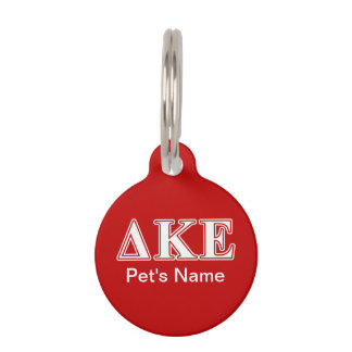 Delta Kappa Epsilon White and Red Letters Pet ID Tag