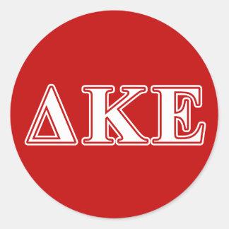 Delta Kappa Epsilon White and Red Letters Round Sticker
