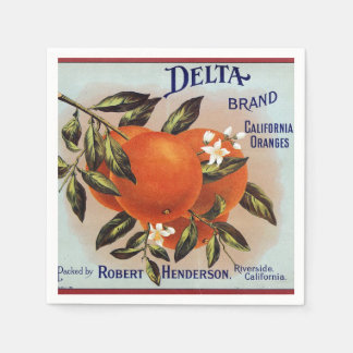 Delta Oranges Fruit Crate Label Paper Serviettes
