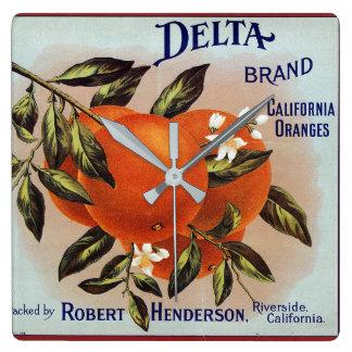 Delta Oranges Fruit Crate Label Square Wall Clock