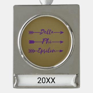 Delta Phi Epsilon Arrow Silver Plated Banner Ornament