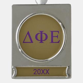 Delta Phi Epsilon Lil Big Logo Silver Plated Banner Ornament