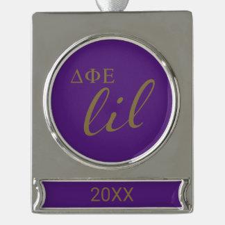 Delta Phi Epsilon Lil Script Silver Plated Banner Ornament