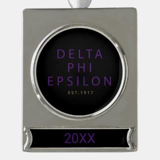 Delta Phi Epsilon Modern Type Silver Plated Banner Ornament