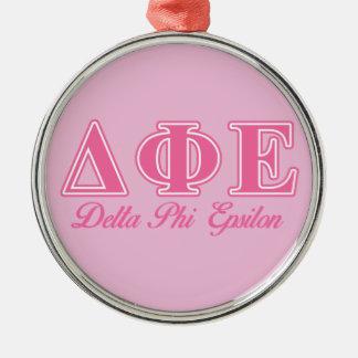 Delta Phi Epsilon Pink Letters Christmas Ornament