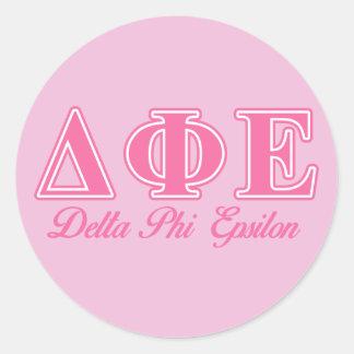 Delta Phi Epsilon Pink Letters Classic Round Sticker