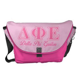 Delta Phi Epsilon Pink Letters Messenger Bag