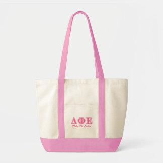 Delta Phi Epsilon Pink Letters Tote Bag