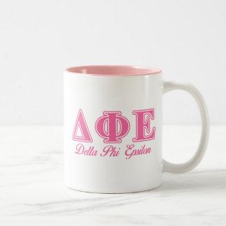 Delta Phi Epsilon Pink Letters Two-Tone Coffee Mug