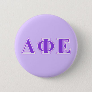 Delta Phi Epsilon Purple and Lavender Letters 6 Cm Round Badge
