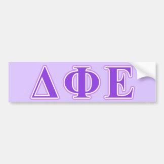 Delta Phi Epsilon Purple and Lavender Letters Bumper Sticker
