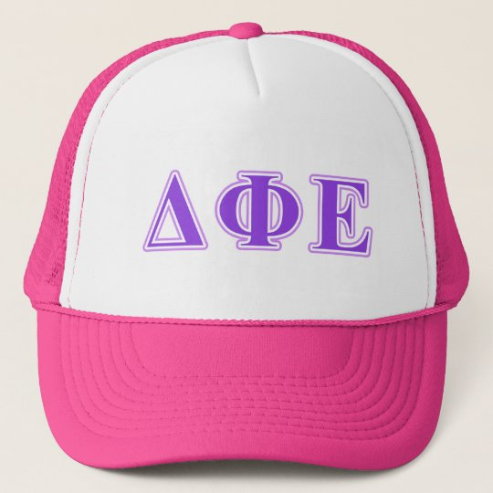 Delta Phi Epsilon Purple and Lavender Letters Cap