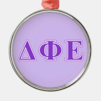 Delta Phi Epsilon Purple and Lavender Letters Christmas Ornament