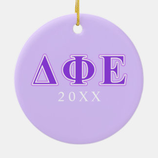 Delta Phi Epsilon Purple and Lavender Letters Christmas Ornament