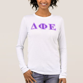 Delta Phi Epsilon Purple and Lavender Letters Long Sleeve T-Shirt