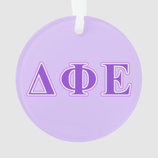 Delta Phi Epsilon Purple and Lavender Letters Ornament
