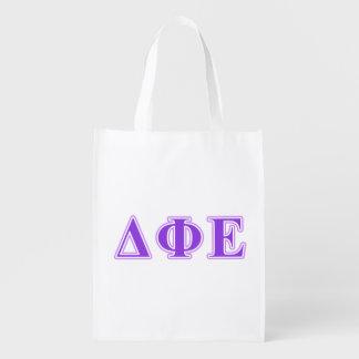 Delta Phi Epsilon Purple and Lavender Letters Reusable Grocery Bag